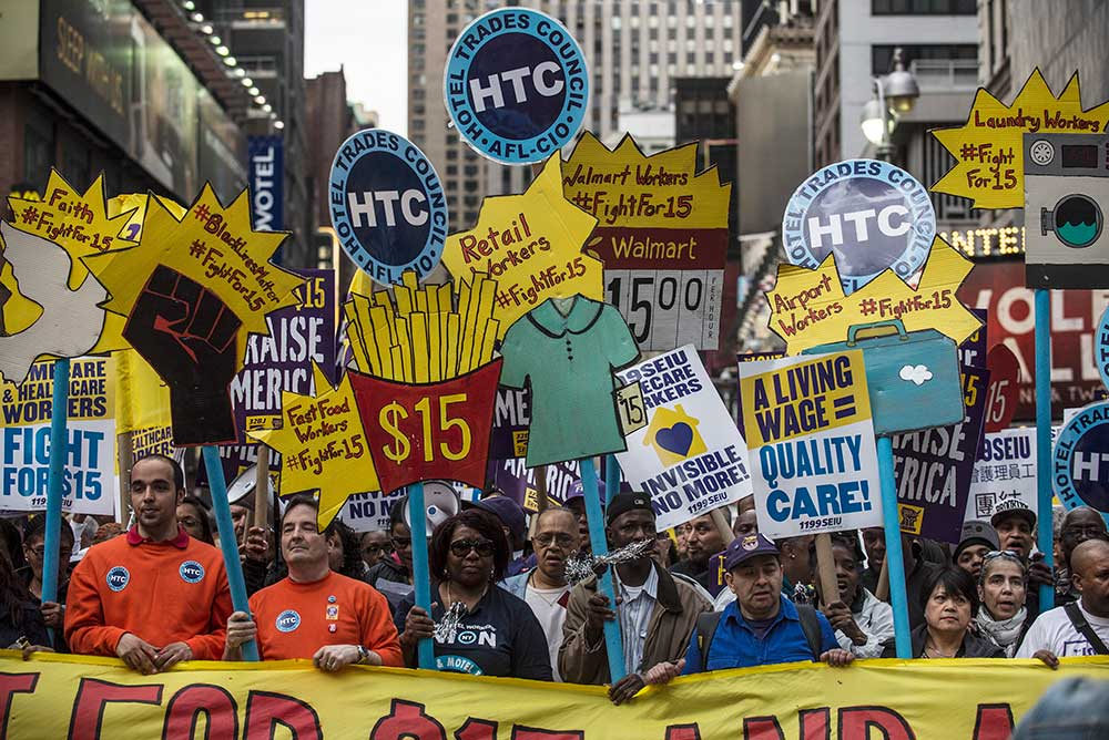 Minimum wage march, New York, 2016.