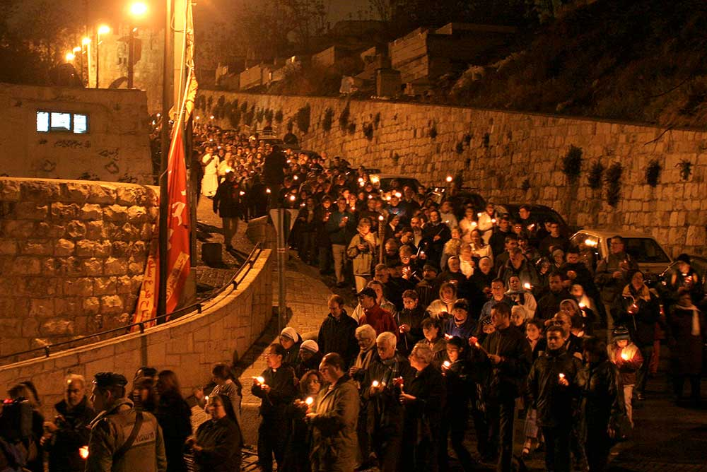 Crowd gathers in memory of Pope John Paul II in the Old City of Jerusalem, 2005.