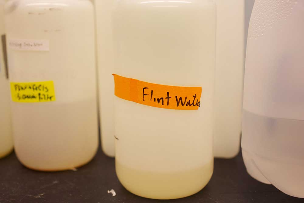 Water samples at a Virginia Tech lab, 2016.